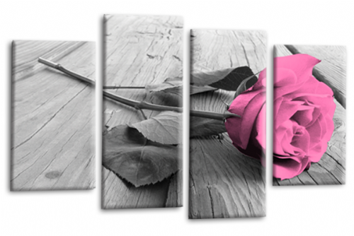 Bright Pink Rose Floral Wall Art Flower Split Panel Canvas Picture Print